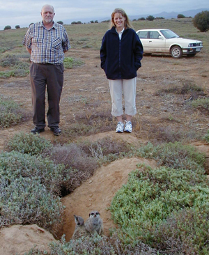 Sue Piper and Cyril Clarke on a Sunset Wild meerkat / suricate Tour in The Meerkat Magic Valley in Oudtshoorn South Africa