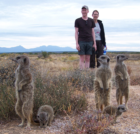 Johan, Margot Bazuin who visited The Meerkat Magic Conservation Project in The Meerkat Magic Valley, and walked with Wildlife - the Wild meerkats / suricates of The Ungulungu meerkat / suricate group around Oudtshoorn, Western Cape, South Africa. Thank you for your continued support as Meerkat Friendly Supporters!