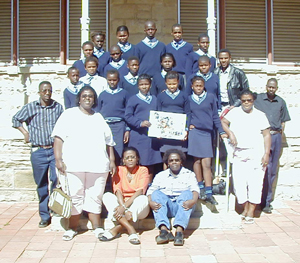 In The CP Nel Museum courtyard- Kolonga J.S.S School and pupils, and teachers: Ms. Gigiba, Ms. Ntsabo, Ms. Jaceni, Mr. Seyisana, Mr. Nozewu, Mr. Sinyanza, Mr. Siyeka.