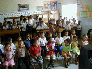 Students from Lategansvlei SSKV Primary Farm School in Oudtshoorn, Western Cape in South Africa.