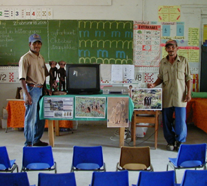 Marthinus Konstabel and Kiewiet Constable (<b>Research Field Managers for The Meerkat Magic Conservation Project</b>) at our display.