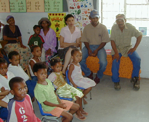 Marthinus Konstabel and Kiewiet Constable (<b>Research Field Managers for The Meerkat Magic Conservation Project</b>) and school head Mrs.P.V.Jackson and students from Lategansvlei SSKV Primary Farm School in Oudtshoorn, Western Cape in South Africa.