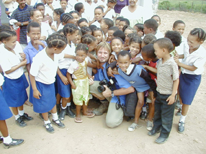 Dale Morris and students from Lategansvlei SSKV Primary Farm School in Oudtshoorn, Western Cape in South Africa.