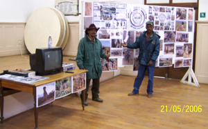 The Meerkat Magic Conservation Project Educational Presentation Display and friends Marthinus and Izaak.