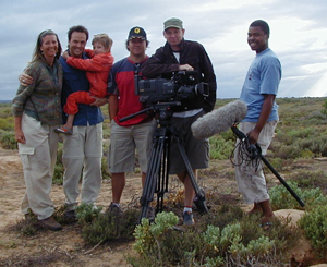 Top Billing National Television Programme with Michael Mol and crew, Mandy Young - The Eco - Therapist visiting The Meerkat Magic Conservation Project in The Meerkat Magic Valley around Oudtshoorn, Western Cape, South Africa, 17 December 2005.