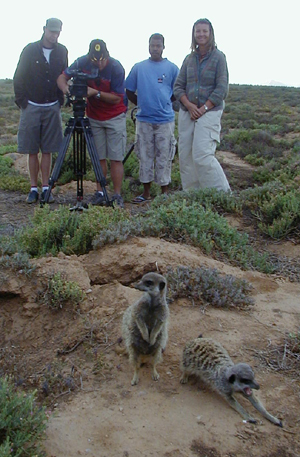 Top Billing National Television Programme with Michael Mol and crew, Mandy Young - The The Eco - Therapist visiting The Meerkat Magic Conservation Project in The Meerkat Magic Valley around Oudtshoorn, Western Cape, South Africa, 17 December 2005.