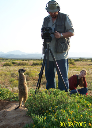 Bart Smithers and crew, filming for National Television 50 / 50 Conservation programme (yet to be released) who visited The Meerkat Magic Conservation Project in The Meerkat Magic Valley around Oudtshoorn, Western Cape, South Africa, 04 June 2006, 27 July 2006, 30 September 2006.